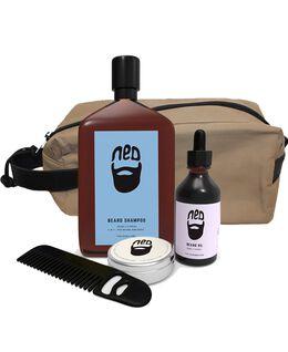 Washbag w/ Beard Oil, Wax, Shampoo & Comb