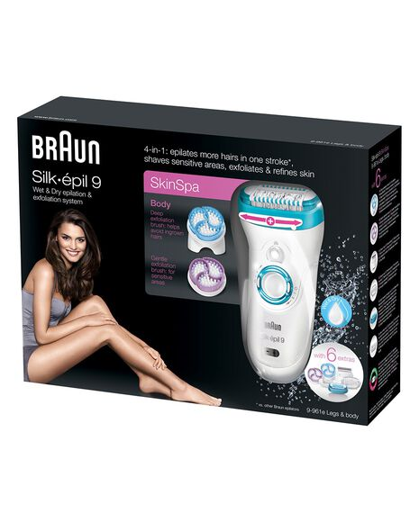 Silk Epil 9 Epilator 4 in 1 Hair Removal and Exfoliation System with 6 extras