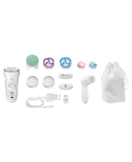 Silk Epil 9 Wet/Dry Epilator 4 in 1 Hair Removal and Exfoliation System with 12 extras incl Facial Brush