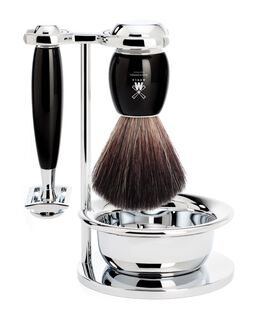 Vivo 4 Piece Black Fibre Shaving Brush & Razor Set - Black Resin