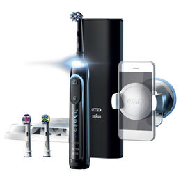 Genius 9000 Electric Toothbrush with 3 Replacement Heads & Smart Travel Case, Black