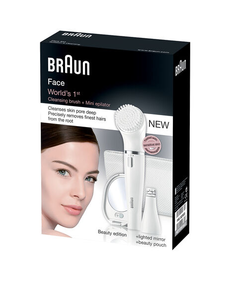 Mini Facial Epilator plus Cleansing Brush incl. lighted mirror & white beauty pouch