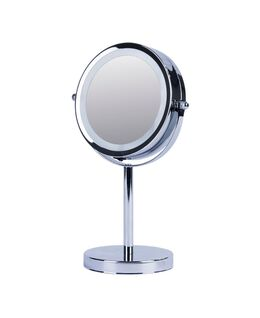 Vogue Illuminated Metal Double Sided Mirror - Silver