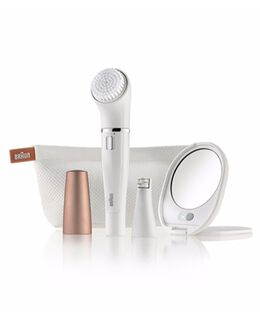 Mini Facial Epilator plus Cleansing Brush incl. lighted mirror & beauty pouch