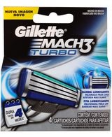 Mach 3 Turbo Blades Refill 4 Pack